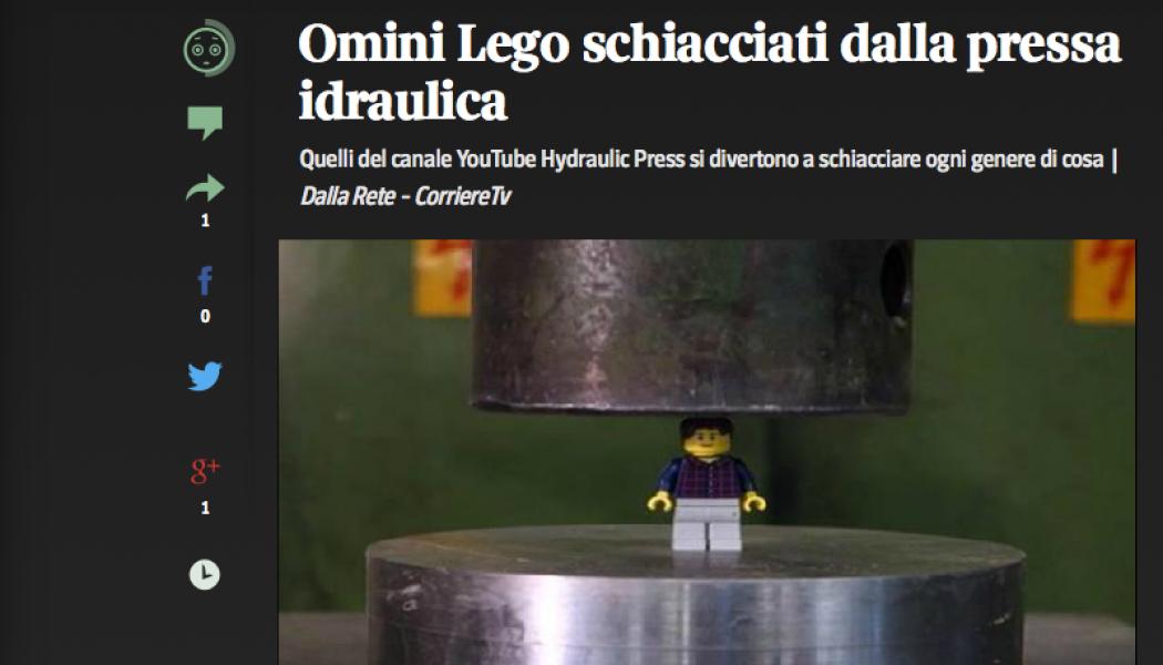 (DA BUTTARE) Omini Lego schiacciati dalla pressa idraulica