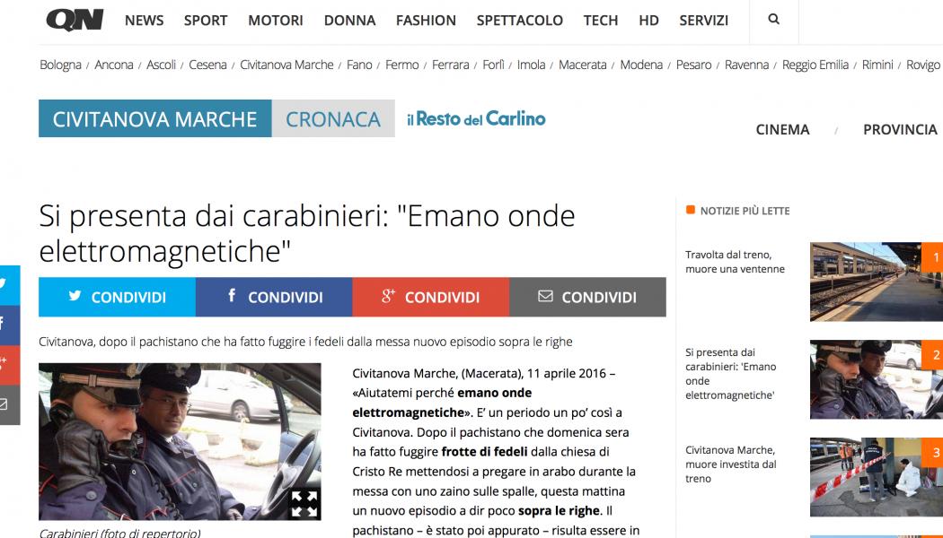 """(DA BUTTARE) Si presenta dai carabinieri: """"Emano onde elettromagnetiche"""""""