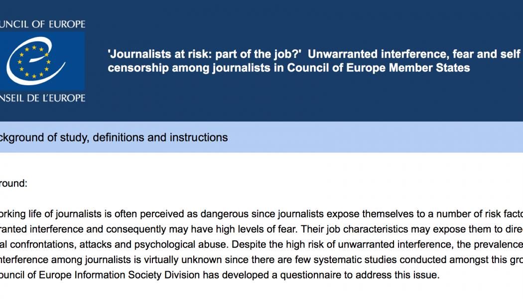 Dall'Europa un'indagine on line sui giornalisti a rischio