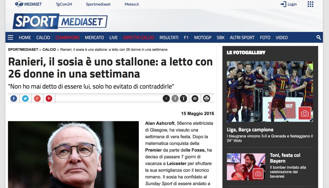 (NOTIZIE DA BUTTARE) Ranieri, il sosia è uno stallone: a letto con 26 donne in una settimana