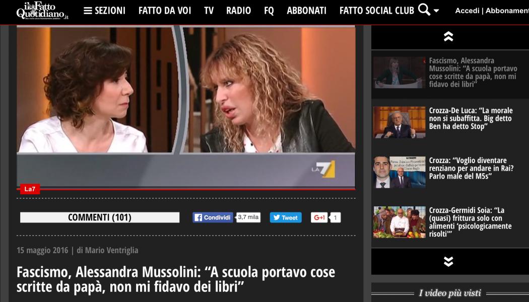 """(NOTIZIE DA BUTTARE) Fascismo, Alessandra Mussolini: """"A scuola portavo cose scritte da papà, non mi fidavo dei libri"""""""