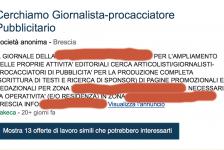 Cercasi giornalista-pubblicitario: l'annuncio (kamikazee) nel Bresciano