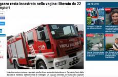 (NOTIZIE TROPPO VERE) Ragazzo resta incastrato nella vagina: liberato da 22 pompieri