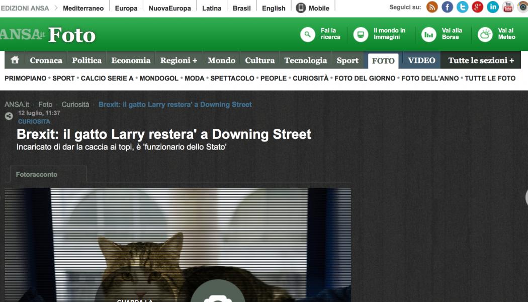 (NOTIZIE DA BUTTARE) Brexit: il gatto Larry restera' a Downing Street