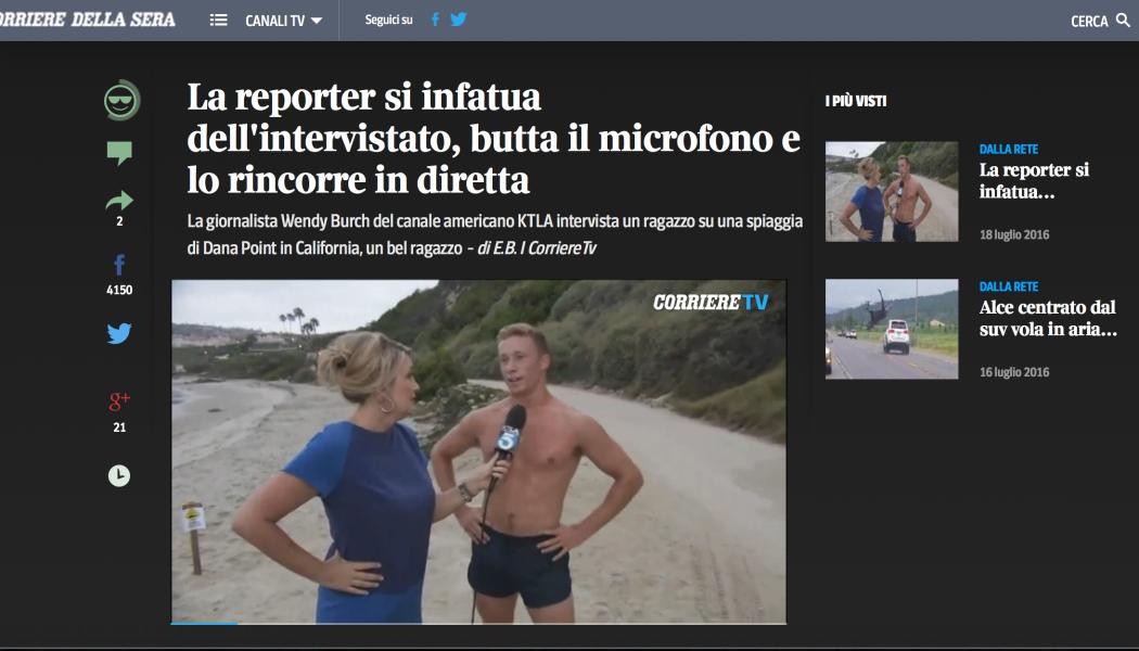 (NOTIZIE DA BUTTARE)  La reporter si infatua dell'intervistato, butta il microfono e lo rincorre in diretta