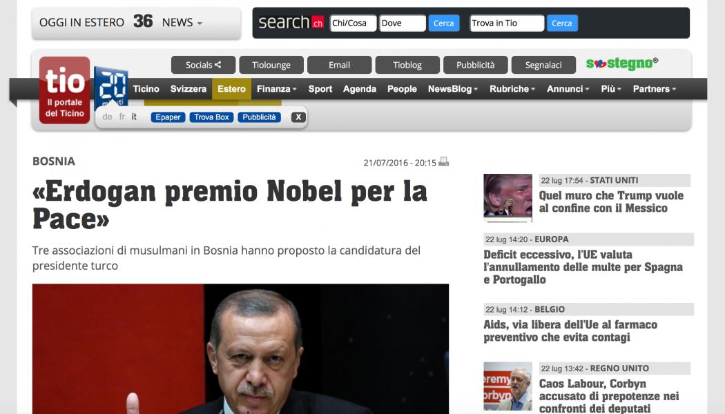 (NOTIZIE TROPPO VERE) «Erdogan premio Nobel per la Pace»