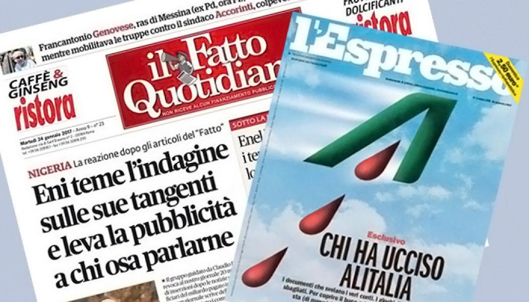 Fnsi attacca Alitalia ed Eni: no alle ritorsioni contro i giornalisti sgraditi